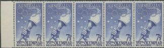 SG 291 ACSC 333d. 7½d Olympic Games, Melbourne 1954 strip of 5 (AE1/106)